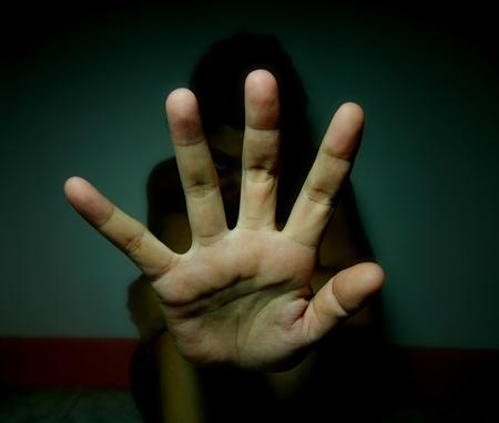 negation: stop abusing women Stock Photo