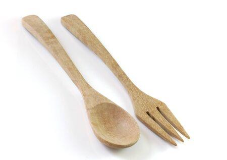 stirrer: Wooden spoon on white background