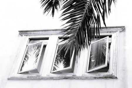 orificio nasal: grunge concrete wall with a ventilation window, black and white tone Foto de archivo