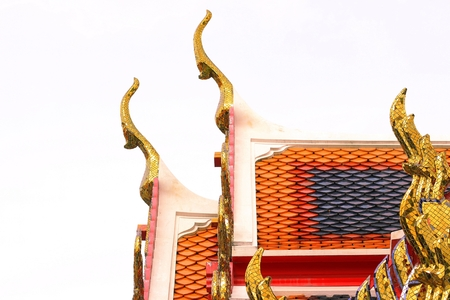 gable apex architecture of golden buddha of thailand Stock Photo