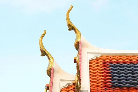 gable apex architecture of golden buddha of thailand Stock fotó