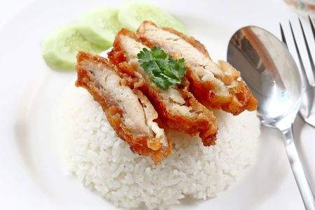 fry chicken rice , Thai food Stock Photo