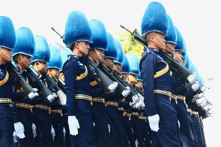 Bangkok-Thailand: October 15, 2017 The Motion of Royal Thai Army To prepare for attend the funeral of King Bhumibol Adulyadej (King Rama 9) At Sanam Luang