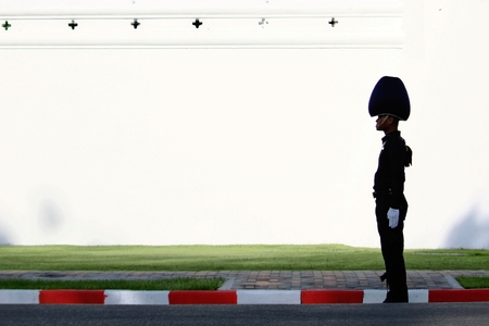 Bangkok-Thailand: October 15, 2017 Silhouette Royal Thai Army on white wall background in the funeral of King Bhumibol Adulyadej (King Rama 9) At Sanam Luang