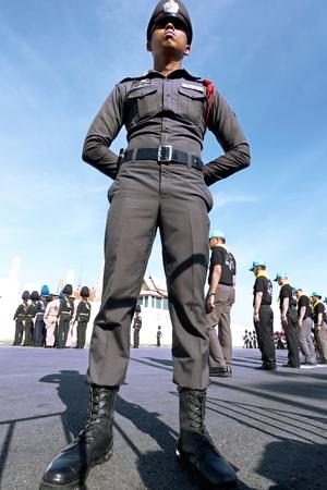 Bangkok-Thailand: October 15, 2017 Police Thai in the funeral of King Bhumibol Adulyadej (King Rama 9) At Sanam Luang Editorial