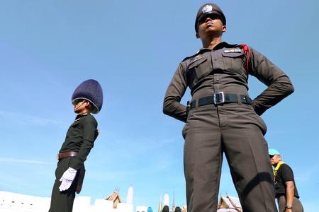 Bangkok-Thailand: October 15, 2017 Police and Royal Thai Army in the funeral of King Bhumibol Adulyadej (King Rama 9) At Sanam Luang