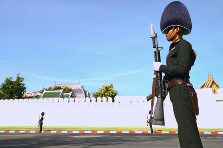 Bangkok-Thailand: October 15, 2017 Royal Thai Army To prepare for attend the funeral of King Bhumibol Adulyadej (King Rama 9) At Sanam Luang Editorial