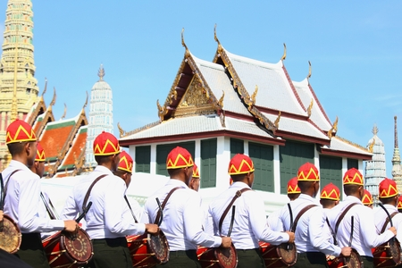 Bangkok-Thailand: October 15, 2017 The Motion of Soldiers in traditional clothing to prepare for attend the funeral of King Bhumibol Adulyadej (King Rama 9) At Sanam Luang