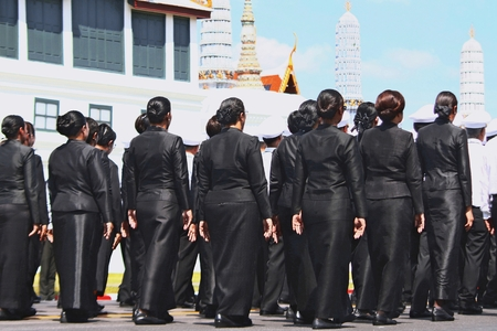 Bangkok-Thailand: October 15, 2017 The Motion of many people to prepare for attend the funeral of King Bhumibol Adulyadej (King Rama 9) At Sanam Luang