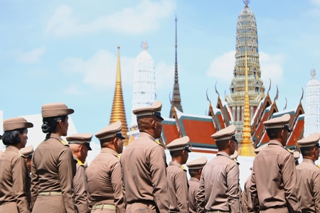 Bangkok-Thailand: October 15, 2017 The Motion of Royal Thai Army to prepare for attend the funeral of King Bhumibol Adulyadej (King Rama 9) At Sanam Luang Editorial