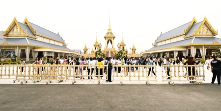 Bangkok-Thailand : November 6, 2017 Thai people visit in The Royal Crematorium of the funeral exposition for The King Bhumibol Adulyadej at Sanam Luang Editorial