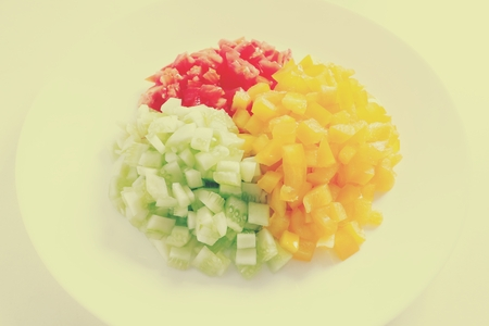 Colorful vegetable sliced in dish Stock Photo
