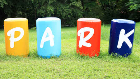 PARK : Colorful big letters of the alphabet