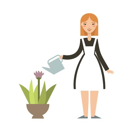 woman gardening: Woman gardening. Happy young woman watering flowers. Illustration