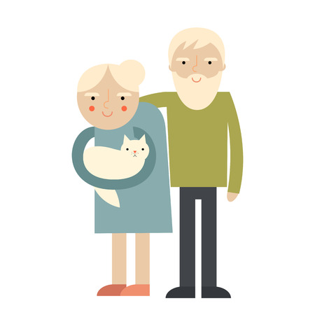 happy couple: Happy senior couple illustration. Cartoon grandparents.