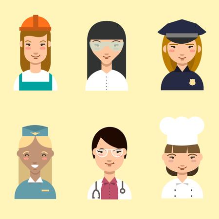 female cop: Set of cartoon women in the profession.