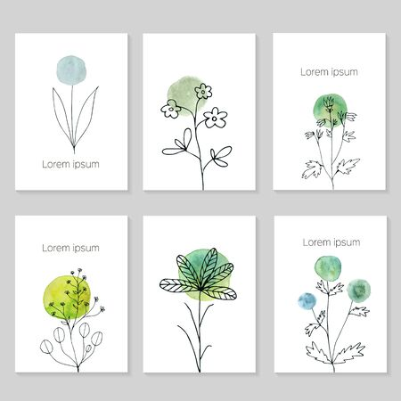 Set of artistic universal cards. Wedding, birthday, party, valentines day, universally. Design for card, invitation, placard, poster, brochure, flyer. Vector. Hand Drawn wartercolor textures. Handrdawn flowers. Illustration