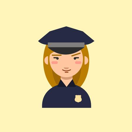 mujer policia: Oficial de policia. personaje de dibujos animados policía. Icono del vector.