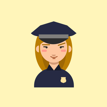 femme policier: Police officer. Policewoman cartoon character. Vector icon.