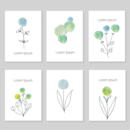 Set of artistic universal cards. Wedding, birthday, party, Valentines day, universally. Design for card, invitation, placard, poster, brochure, flyer. Vector. Hand Drawn wartercolor textures. Handrdawn flowers.