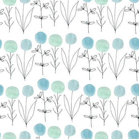 pastel colors: Watercolor texture. Seamless pattern. Watercolor  circles in pastel colors with handdrawn flowers, branches, floral elements on white background. Pastel colors and romantic delicate design. Fresh and Mint Colors.