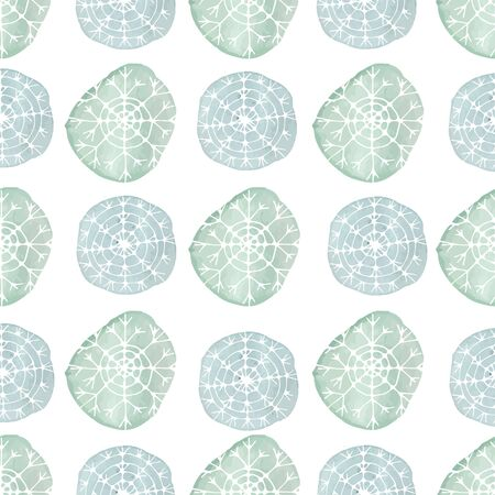 frost winter: Watercolor seamless  pattern with dots and snowflakes. Abstract christmas background. Vector illustration. Aquarelle circles in pastel colors.
