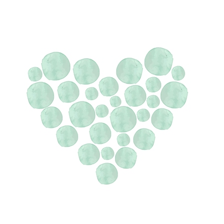 Hand painted Poster. Made in Vector. Watercolor heart. Mint dots. Isolated on white background. Perfect Template for Weddding, Greetings, Valentines day cards.