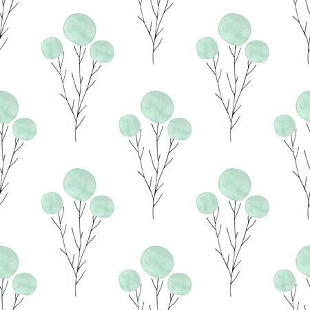 Watercolor texture. Seamless pattern. Watercolor  circles in pastel colors with handdrawn flowers, branches, floral elements on white background. Pastel colors and romantic delicate design. Fresh and Mint Colors.