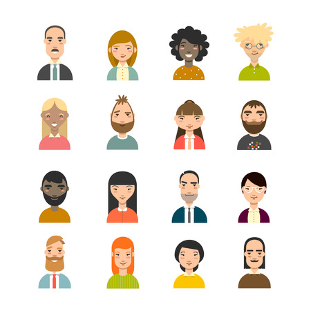 nationalities: Set of diverse avatars. Business avatars set. Different nationalities, clothes, hair styles. Stock Photo