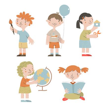 Cute children in kindergarten. Workshop for children. Cartoon kids playing, reading, studying, painting.