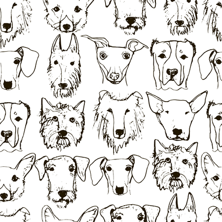 airedale: Hand drawn Dogs Heads seamless Pattern. Dog Breeds. Hand drawn Sketch made in Vector.