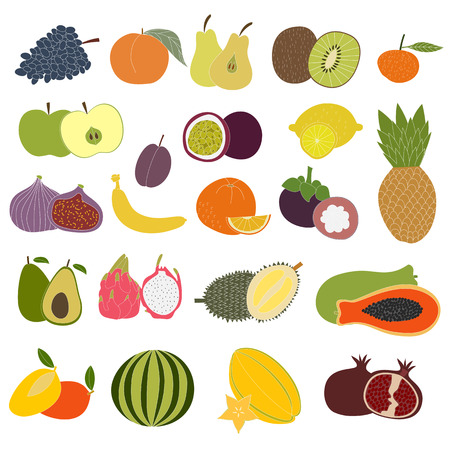 Fresh fruits set. Hand drawn fruits made in vector and color. Isolated. Tropical fruits and fresh healthy food. Stock Photo