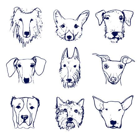 Set Van Hond Karakter Illustratie Honden Geisoleerd Op Wit