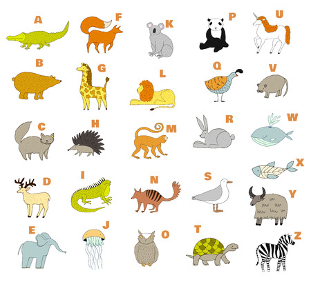 Unicorn fish: Cute zoo alphabet with cartoon animals. Vector. Childish alphabet. Handdrawn illustration. Isolated on white background. Whale, lion, fox, zebra, elephant, iguana, quail, turtle, yak, rat, unicorn, koala, bear, x-ray fish.
