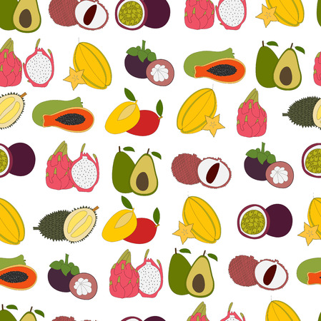 Seamless pattern with Fresh exotic fruits. Hand drawn fruits made in vector and color.  Tropical fruits and fresh healthy food. Stock Photo
