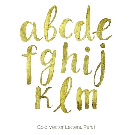Gold vector  letters. Hand-written alphabet. Gold Brush Letters isolated on white background. Vector metallic paint font.