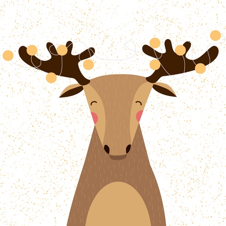 christmas elk: Cute Christmas Elk with Garland on the Horns.Vector illustration.