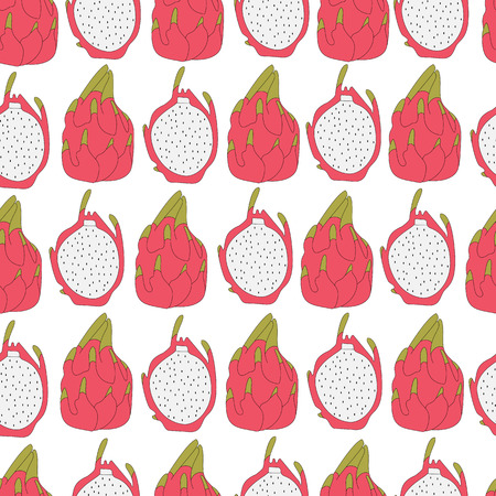 thailand food: Seamless tropical pattern with beautiful  sliced white dragon fruit. Pitaya seamless pattern. Hand drawn illustration made in Vector. Stock Photo