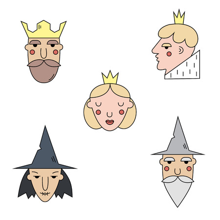 Fairy tail characters  icons set. Vector symbols isolated on background. Prince, wizard, king, princess, witch. Flat Vector icons. Characters set. Illustration