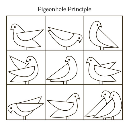 pigeons: Vector Pigeonhole Principle illustration. Line illustration. Vector icons of pigeons. Illustration