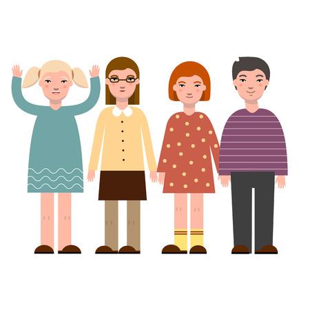 Happy children in trendy clothing. Modern happy children. Vector illustration. Cartoon characters.