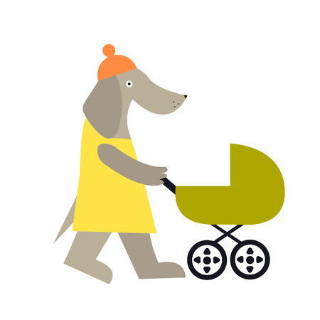 Cute dog mother character. Cartoon vector illustration of female dog in hat isolated on background. Motherhood illustration.