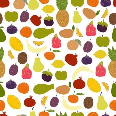 Fresh fruits seamless pattern. Hand drawn fruits made in vector.  Tropical fruits and fresh healthy food.