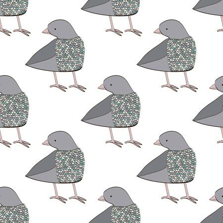 paloma caricatura: Patrón sin fisuras con la paloma. Dibujos animados y el pájaro dibujado mano linda hecho en vector. El diseño perfecto para las tarjetas, invitaciones, de impresión.