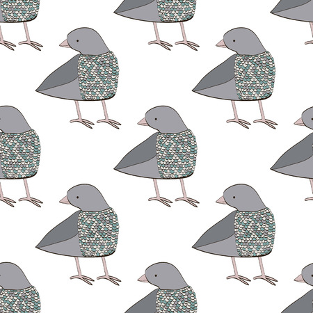 paloma caricatura: Seamless pattern with dove.  Cartoon and cute hand drawn bird made in vector. Perfect design for cards, invitations, print.