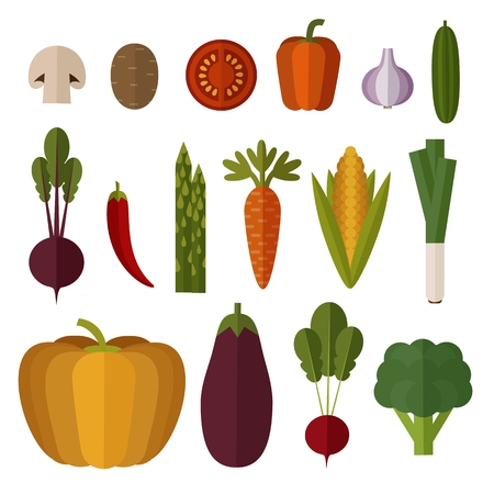 Set of Vegetables made in Flat style. Fresh Vegetables. Healthy lifestyle vector design elements. Isolated on white background.