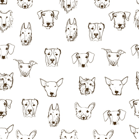 Seamless pattern with hand drawn dog's heads. Dog breeds. Hand drawn sketch made in vector. Isolated. Pitbull, corgi, dachshund, Alabai, Collie, Eldertererer, Terrier.