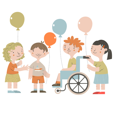 Handicapped kids with friends. Special needs children. Vector illustration.