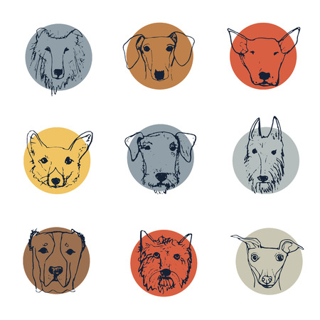 Dog logo collection. Handdrawn dog's heads. Vector illustration. Funny cartoon dog characters.