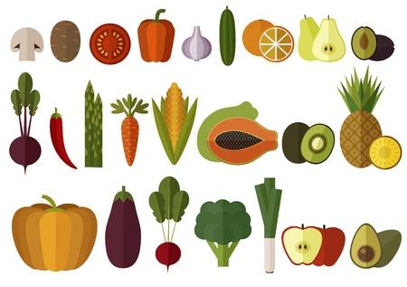 Big Vegetables and Fruits Set. Isolated. Modern Flat design. Illustration